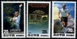 North Korea Stamps 1990 Dusseldorf Stamp Expo Soccer Football Lady Steffi Graf Tennis Flower Cloud - Tennis