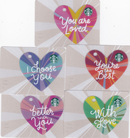 5 Starbucks Cards - - - Germany - - - Complete Set Of Hearts 6147 - Gift Cards