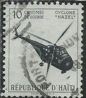 HAITI 1955 PARCEL POST HELICOPTER  CYCLONE HAZEL CENT. 10c USATO USED OBLITERE' - Haiti