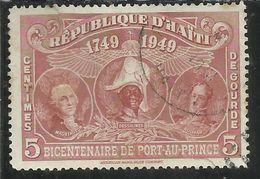 HAITI 1949 PARCEL POST George Washington. J.J. Dossallnes And Sim6n Bolivar CENT. 5c USATO USED OBLITERE' - Haiti