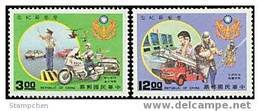 1988 Police Day Stamps Motorbike Motorcycle Fire Engine Pumper Helicopter Cruise Car - Motorbikes