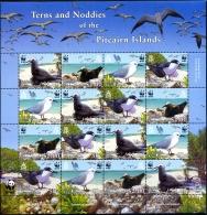 MARINE BIRDS-TERNS & NODDIES-WWF-SHEET-PITCAIRN ISLANDS-SCARCE-MNH--M-221 - Marine Web-footed Birds