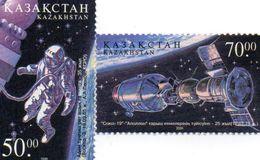 KAZAKHSTAN / Espace 25 Ans Apollo Soyouz ASTP Série 2 Valeurs Dentelées MNH Valeur 5.00 Euros Vente 2.00 Euros - Espacio