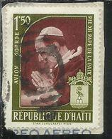 HAITI 1959 POSTA AEREA AIR MAIL POPE PIUS PAPA PIO XII PRAYING 1.50g USATO USED OBLITERE' - Haiti