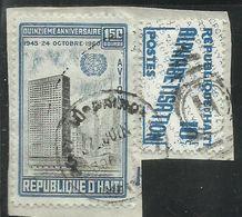 HAITI 1960 1961 PARCEL POST ALPHABETISATION CENT. 10c + UN Headquarters. NYC 1.50g USATO USED OBLITERE' - Haiti