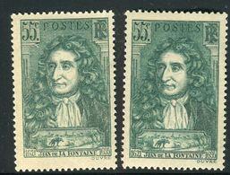 France - N°397 Variété, 1 Exemplaire Vert Clair+ 1 Normal   ,neufs Luxe - Ref V362 - Variedades Y Curiosidades