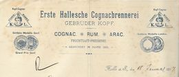 Allemagne - Halle S/Saale - Entête Du 18 Januar 1897 - Erste Hallesche Cognacbrennerei. Gebrüder Kopf - Cognac.Rum.Arac. - Germany
