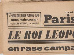 JOURNAL QUOTIDIEN PARIS-SOIR 4 PAGES RECTO VERSO N°6098 MERCREDI 29 MAI 1940 2° GUERRE MONDIALE - Journaux - Quotidiens