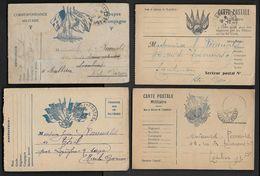 Carte F.M. - Lot De 4 Cartes - Tarjetas De Franquicia Militare