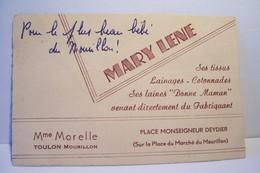 TOULON   - MOURILLON   -     MARY LENE   - Mme  MORELLE  - Place   MONSEIGNEUR  DEYDIER - Visiting Cards