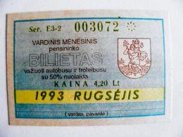 Transport Ticket Lithuania 1993 Vilnius City September Bus Trolley - Season Ticket