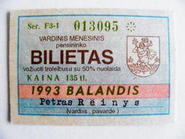 Transport Ticket Lithuania 1993 Vilnius City April Bus Trolley - Season Ticket