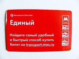 Transport Ticket Metro Moscow Bus Trolleybus Tram Ticket Metro Public Russia - Bus
