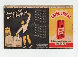 Carte Publicitaire à Système Mémento De L'écolier Café Lidéal Orléans Nos Grands Fleuves Surface Volume La France - Advertising