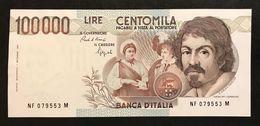 100000 Lire Caravaggio I° Tipo Serie F 1993 Sup/fds  Lotto.542 - [ 2] 1946-… : République