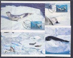 AAT 2001 Leopard Seals 4v 4 Maxicards (37684) - Maximum Cards