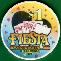 $1 Casino Chip. Fiesta, N. Las Vegas, NV. Hearts Royal Flush. K78. - Casino