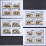 D540 2011 REPUBLIQUE DU BURUNDI FAUNA ANIMALS MAMMALS RHINOCEROS LUX 4KB MNH - Rhinozerosse