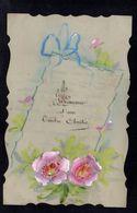 JOLIE CPA FANTAISIE CELLULOID CELLULOIDE DENTELEE Art Nouveau Peinte à La Main Fleurs Ruban Amitié -#612 - Fantaisies
