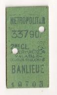 ANCIEN TICKET DE METRO BANLIEUE   ALLER ET RETOUR   VALABLE POUR CE JOUR SEULEMENT CPA1446 - Europe