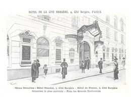 PARIS 9 ème HOTEL DE LA CITE BERGERE 4 Cité Bergère ...G - Cafés, Hôtels, Restaurants