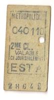 ANCIEN TICKET DE METRO EST A     VALABLE  CE JOUR SEULEMENT CPA1447 - Europe