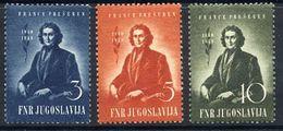 YUGOSLAVIA 1949 Presern Centenary  MNH / **.  Michel 567-69 - 1945-1992 Socialist Federal Republic Of Yugoslavia