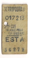 ANCIEN TICKET DE METRO EST A     VALABLE POUR  CE JOUR SEULEMENT CPA1448 - Europe