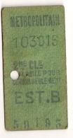 ANCIEN TICKET DE METRO EST.B     VALABLE  POUR CE JOUR SEULEMENT CPA1448 - Europe