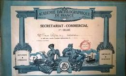 Secrétariat Commercial 1er Degré Académie Dactylographique De France 1958 - Diploma & School Reports