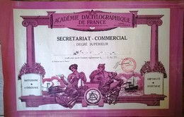 Secrétariat Commercial Degré Supérieur Académie Dactylographique De France 1959 - Diploma & School Reports