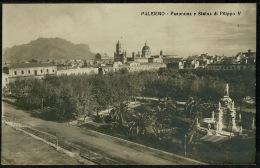 RB 1192 - Early Photo Postcard - Palermo Sicily Italy - Panorama E Statua Di Fillippo V - Palermo