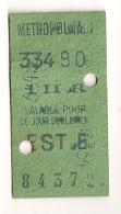 ANCIEN TICKET DE METRO EST .B  I II AR    VALABLE  POUR CE JOUR SEULEMENT CPA1449 - Europe