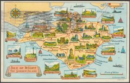 Map - Isle Of Wight, The Garden Of England, 1958 - Nigh Postcard - England