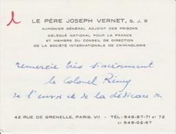 Carte Autographiée Du Père Joseph VERNET,  Adressée Au Colonel REMY - Autographs