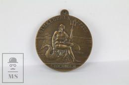 Antique 1921 Simklubben Neptun Stockholm, Swedish Swim Team Bronze Medal - Tokens & Medals