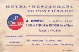Carte De Fidèlité Hôtel Restaurant Du Pont D'Anjou A. MOUSSU 11 Faubourg D'Anjou 35130 LA GUERCHE DE BRETAGNE - Visiting Cards