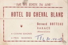 Hôtel Du Cheval Blanc Bernard BOTTEAU à BARACE (Maine & Loire) - Visiting Cards