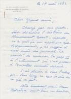 Lettre Autographiée De René MINGUET, Adressée Au Colonel REMY - Autographs