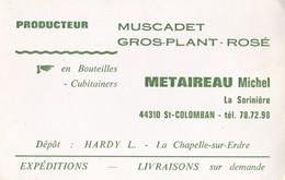 Producteur Muscadet Gros Plan Rosé METAIREAU Michel La Sorinière 44310 ST COLOMBAN - Visiting Cards