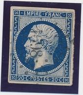 20 C  Bleu Foncé S Jaune N° 14 Pc 1698 (Lesparre) TB. - 1853-1860 Napoléon III