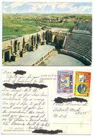 Jordan 1987 Postcard Jerash - The Roman Amphitheatre, To U.S., Scott 1174 & 1238 - Jordan