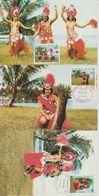 Polynésie Française 1981 Folklore 165-167.3 Cartes - Cartoline Maximum