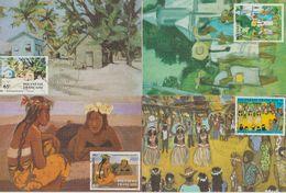 Polynésie Française 1984 Peintres 223-226.4 Cartes - Cartoline Maximum
