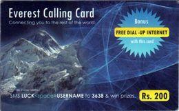 NEPAL Mt.EVEREST Rs.200 PREPAID TELEPHONE CALLING CARD NEPAL USED/GOOD - Nepal
