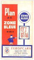 FRANCE/ANCIEN PLAN TRYPTICLE  DE ZONE BLEUE(1965)DE LA VILLLE DE NIMES/   NOM REUSES PUBLICITES AURECTO ET VERSO - Europe