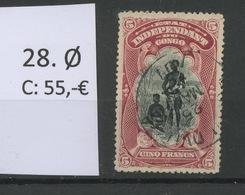 28 Ø   5 Fr  Etat Indépendant    Cote 52 Euros   Ø Légère, Bonne Dentelure - Congo Belge