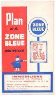 FRANCE/ANCIEN PLAN TRYPTICLE  DE ZONE BLEUE(1963)DE LA VILLLE DE MONTPELLIER/   NOM REUSES PUBLICITES AURECTO ET VERSO - Europe
