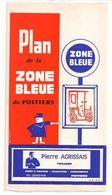 FRANCE/ANCIEN PLAN TRYPTICLE  DE ZONE BLEUE(1966)DE LA VILLLE DE POITIERS/   NOM REUSES PUBLICITES AURECTO ET VERSO - Europe