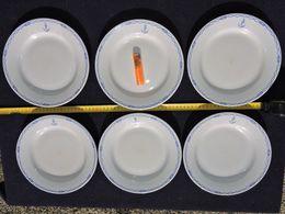 LOT 6 ASSIETTES PLATES MARINE NATIONALE  Décor  CABLE BLEU  - OFFICIER MARINIER  #.2 - Maritime Decoration
